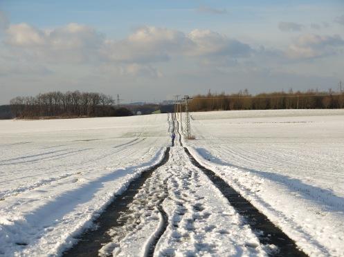 Weg mit Spuren in Schneelandschaft