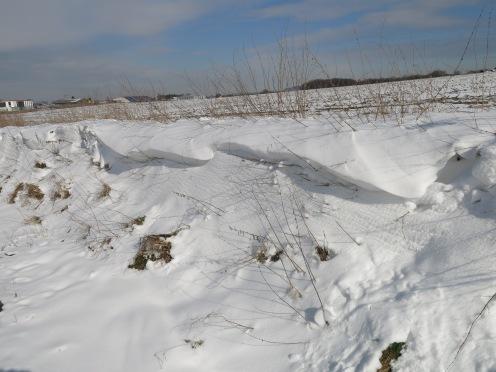 Schneeverwehungen an Straßenböschung Obere Heidestr. nahe Riekenbrauck bei Menden-Bösperde