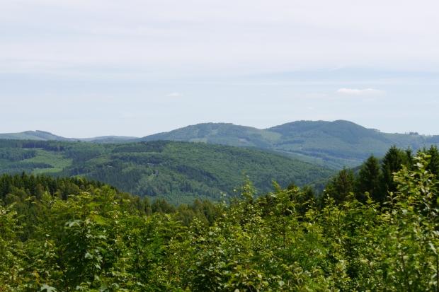 vom Arnsberger Wald vor Föckinghausen  über Ruhrtal nach Süd-Südosten auf Steinberg bei Ostwig , mit Schornstein-Ruine in Bildmitte